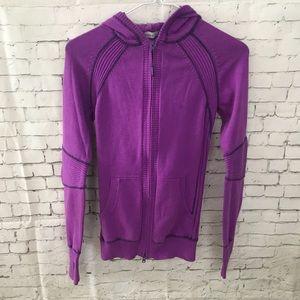 9a1c1d2c57a5a Athleta Pine Rib Purple Zip Hoodie